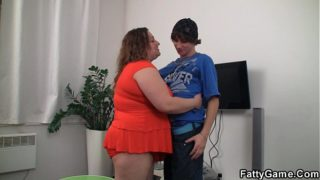 Big belly plumper rides young cock