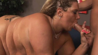 Corpulent doxy gets her clean shaved pussy nailed on camera