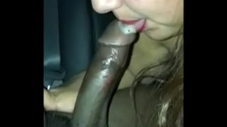 Latina BBW Sucks Black Dick and Balls in backseat until it Cums in Her Mouth